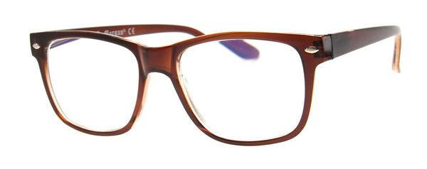 Brown - Mens, Womens, Rectangular, Computer Reading Glasses