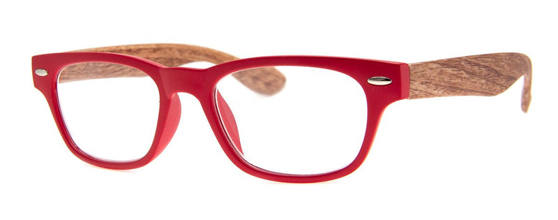 Red/Wood - Stylish, Wood Print, Reading Glasses for Men & Women