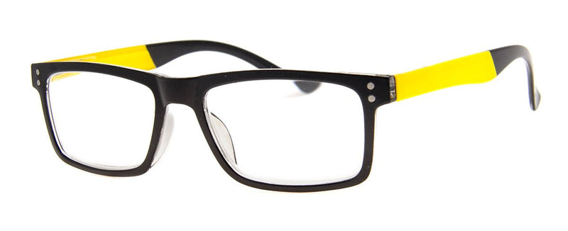 Black/Yellow - Stylish, Funky, Rectangular Reading Glasses