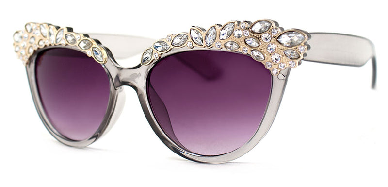 Grey - Jeweled Cat Eye Sunglasses for Women