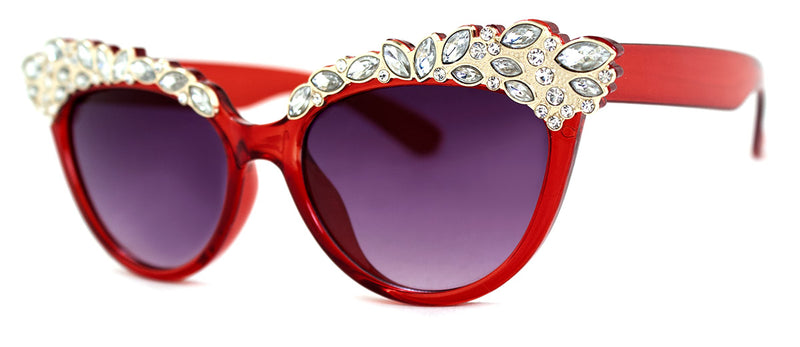 Red - Jeweled Cat Eye Sunglasses for Women