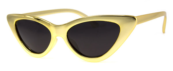 Gold Metallic/Chrome Colored Cat Eye Sunglasses