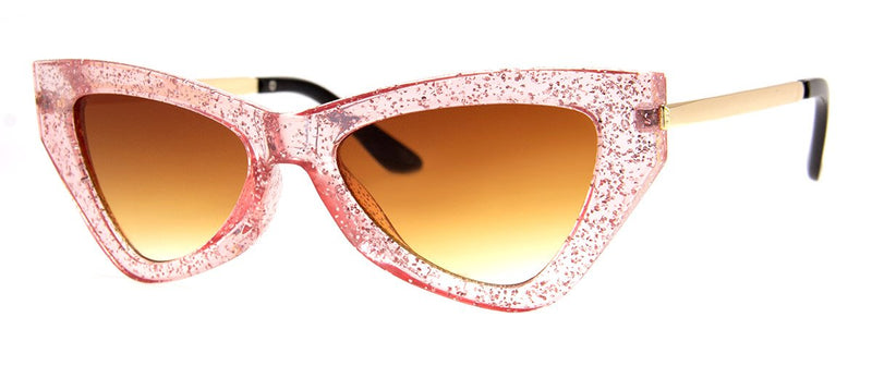 Pink Glitter - Funky, Vintage, Cat Eye Sunglasses for Women