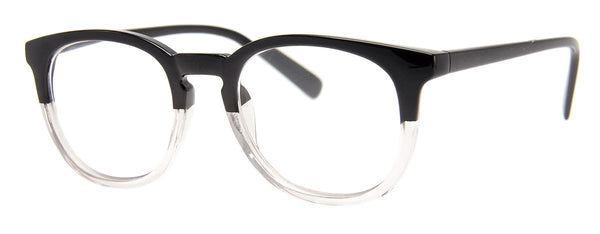 Black/Crystal - Stylish & Hip Round Reading Glasses for Men & Women