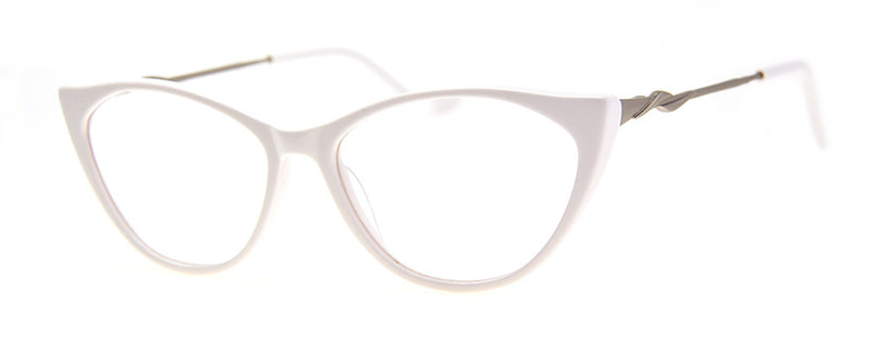 White - Cute designer cat eye reading glasses for women
