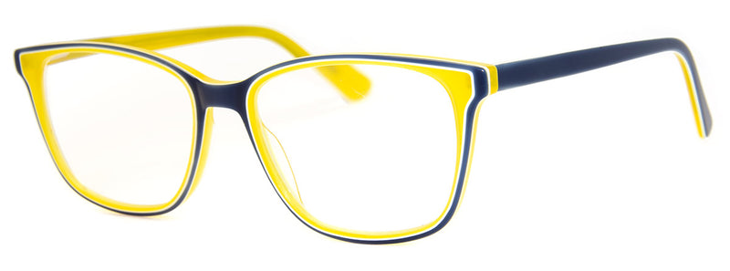 Blue/Yellow - Mens, Womens, Hip, Stylish, Rectangular, Optical Quality Reading Glasses