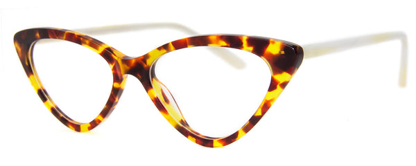 Tortoise/White - Hip Cat Eye Reading Glasses