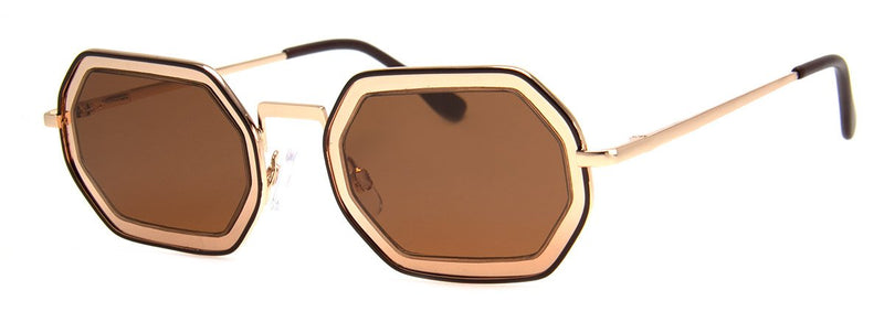 Gold - Hip, Cool, Stylish, Metal Sunglasses for Men & Women