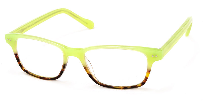 Lime Green/Tortoise Optical Quality Rectangular Womens Reading Glasses