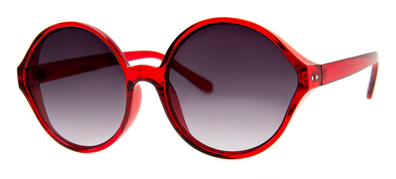 Red - Round Oversized Sunglasses for Women