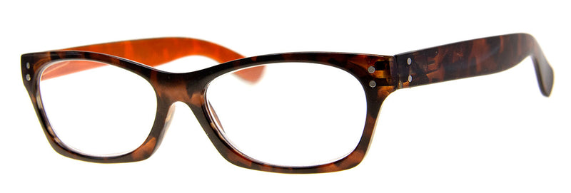 Tortoise/Orange - Cute, Small Cat Eye Reading Glasses
