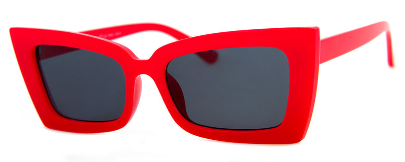 Red -  Funky, Angular Cat Eye Sunglasses