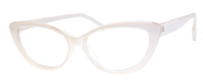 White - Vintage-Inspired Cat Eye Reading Glasses for Women