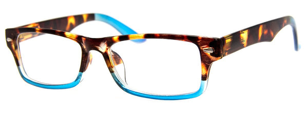 Tortoise/Blue - Cute, Rectangular Womens Reading Glasses