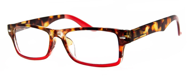 Tortoise/Red - Cute, Rectangular Womens Reading Glasses
