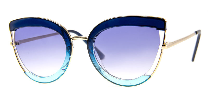 Blue - Funky, Two-Tone, Oversized Sunglasses