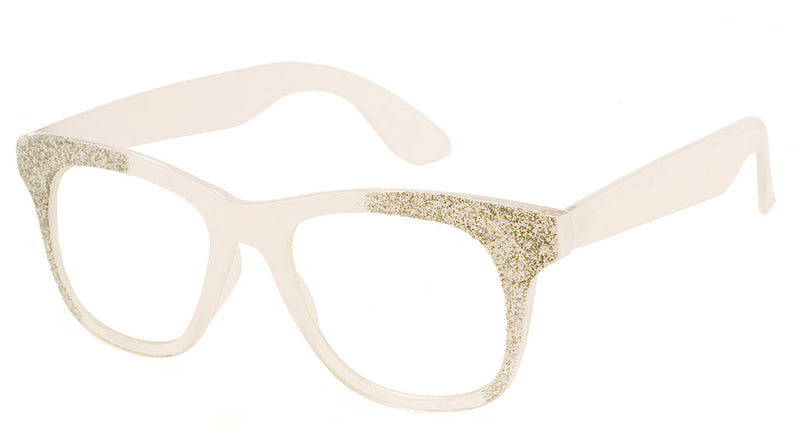 White - Rectangular Fake Reading Glasses