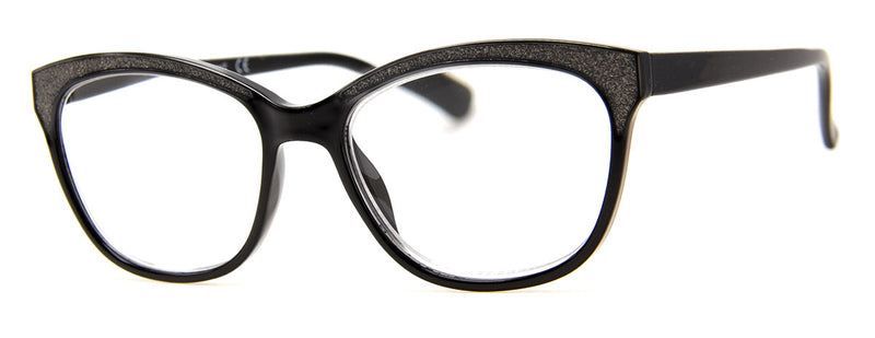Black - Sparkly, Glitter, Rectangular Reading Glasses for Women