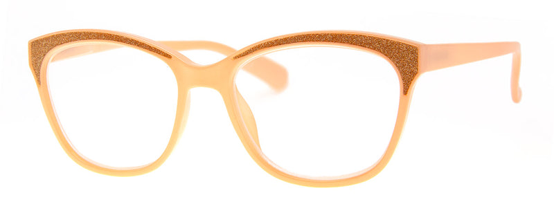 Peach - Sparkly, Glitter, Rectangular Reading Glasses for Women