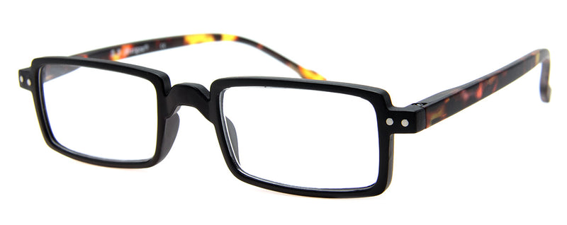 Black/Tortoise - Hip, Rectangular Reading Glasses for Men & Women