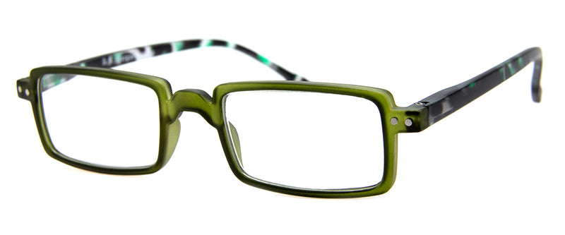Green - Hip, Rectangular Reading Glasses for Men & Women