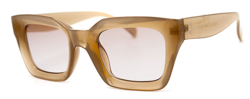 Beige - Vintage-Inspired, Rectangular Sunglasses