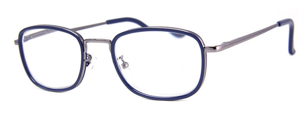 Blue Small Rectangular Metal Frame Reading Glasses