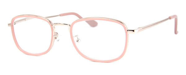 Pink Womens Small Rectangular Metal Frame Reading Glasses