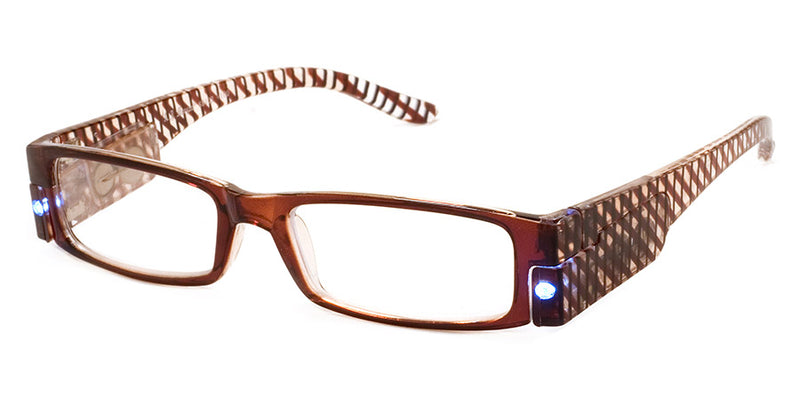 Brown - Mens, Womens, Rectangular, Vintage, LED Reading Glasses