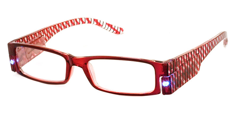 Burgundy - Mens, Womens, Rectangular, Vintage, LED Reading Glasses