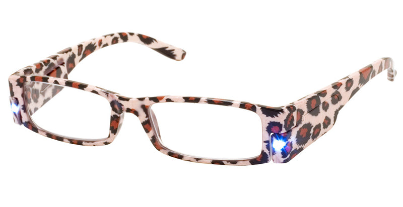 Leopard - Mens, Womens, Rectangular, Vintage, LED Reading Glasses