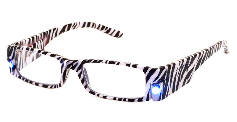Zebra - Mens, Womens, Rectangular, Vintage, LED Reading Glasses