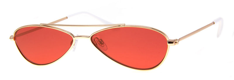 Gold/Red - Vintage-Inspired, Funky, Oval, Metal Sunglasses