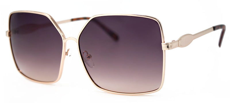 Gold with Smoke Lens Large Metal Rectangular Sunglasses