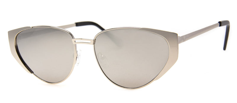 Silver - Hip, Retro, Metal Cat Eye Sunglasses