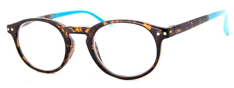 Tortoise/Blue - Round, Hip Reading Glasses for Women