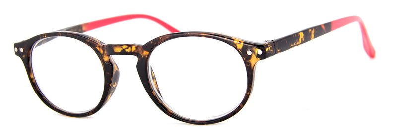 Tortoise/Red - Round, Hip Reading Glasses for Women