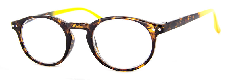 Tortoise/Yellow - Round, Hip Reading Glasses for Women