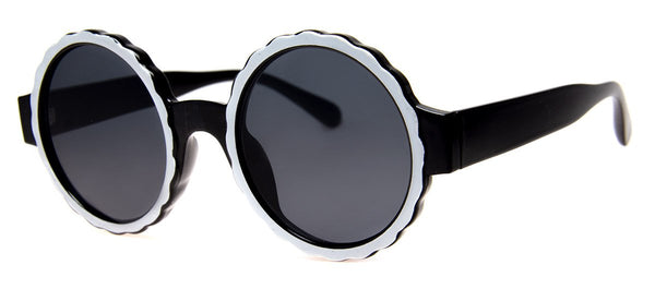 Black/White - Funky, Round, Mens and Womens Sunglasses