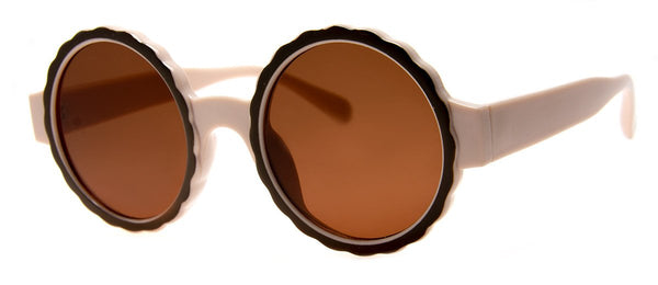 Brown - Funky, Round, Mens and Womens Sunglasses