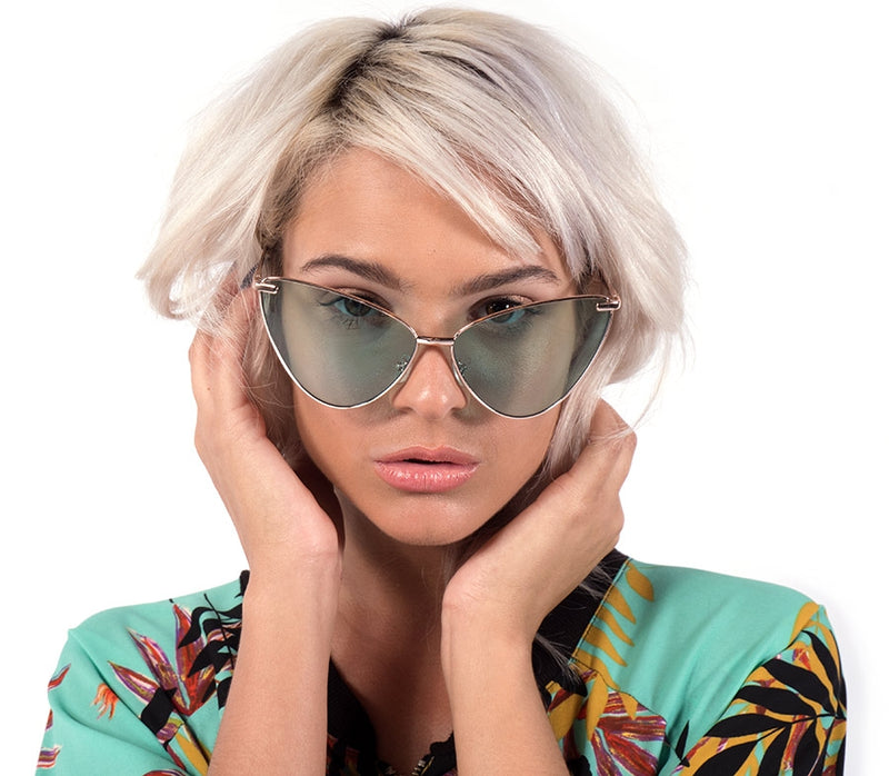 Sexy Cateye Sunglasses in a Metal Frame