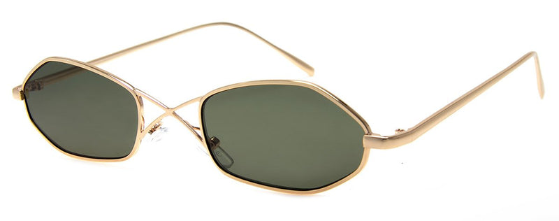 Gold -  - Updated, Retro, Metal Frame Sunglasses for Men and Women