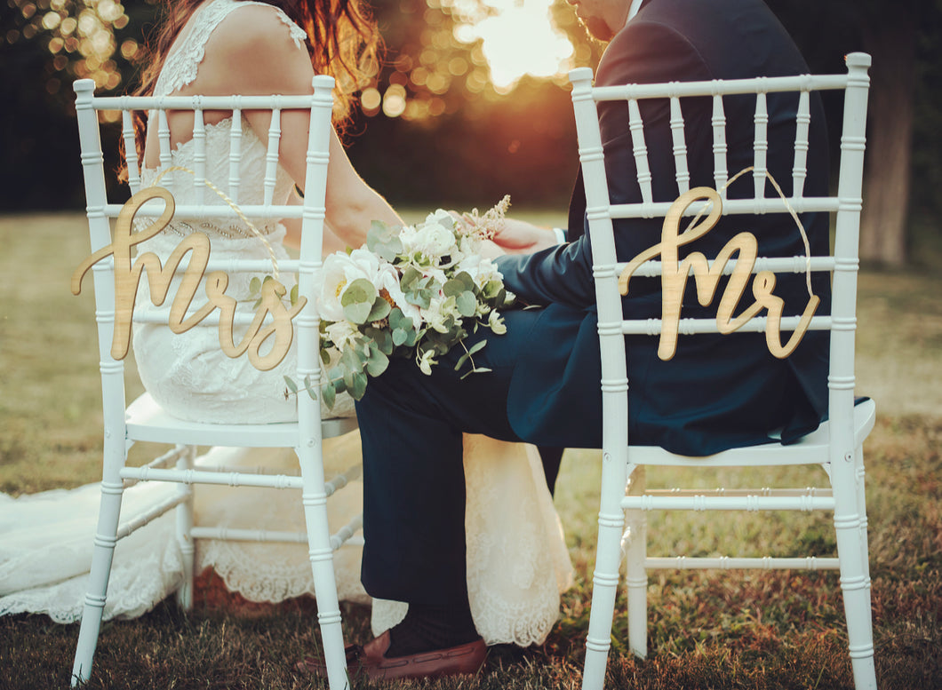 Mr & Mrs Chair Back Signs