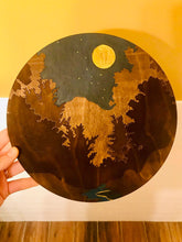 Load image into Gallery viewer, Night Sky with Golden Moon Over Forest Wall Art