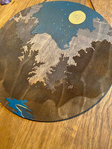 Night Sky with Golden Moon Over Forest Wall Art