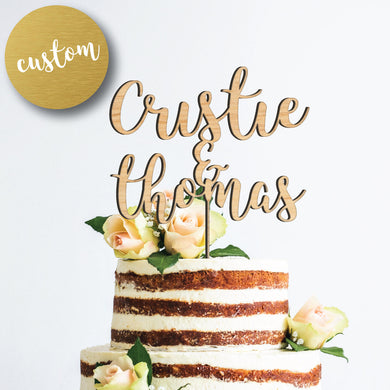 Custom Name Wood Cake Topper
