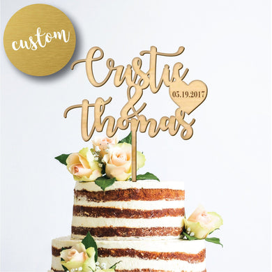 Personalized Cake Topper with Engraved Heart