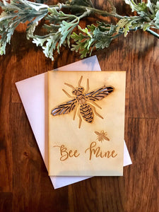Wooden Valentines Day Card, Bee Mine Valentine, Bee Mine