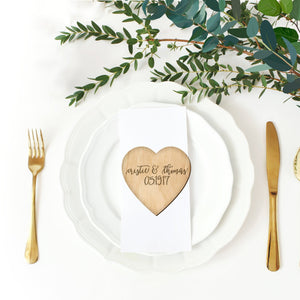Engraved Heart Table Setting