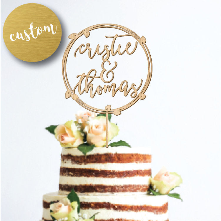 Personalized Vine Wreath Cake Topper